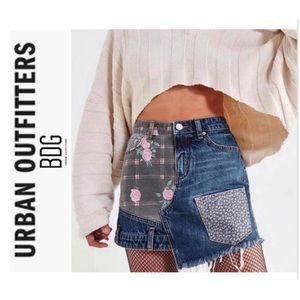 Urban Outfitters Floral Patchwork Denim Mini Skirt